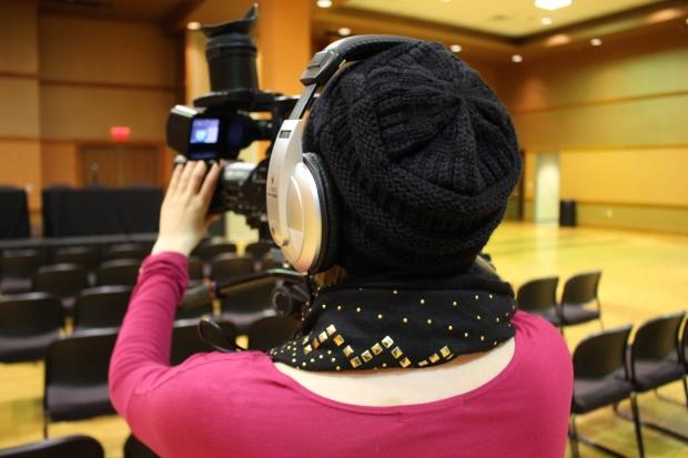 Student white balancing camera